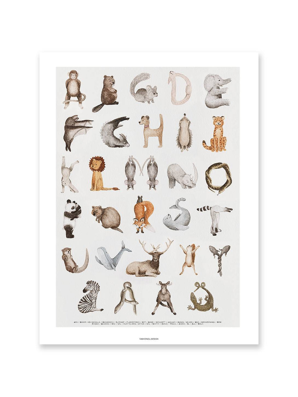 Animal ABC Print 50 x 70cm (PRE-ORDER JUNE) - Hello Little Birdie