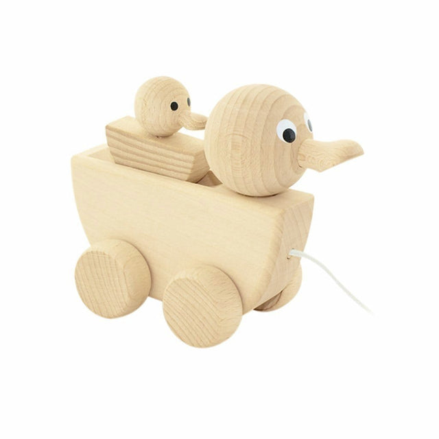 Miva Vacov Wooden Pull Along Duck With Duckling