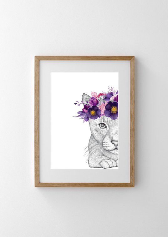 Dots By Donna, Catherine the Cat with Flower Crown - Hello Little Birdie