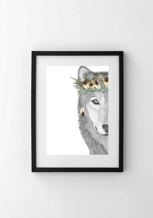 Dots By Donna, William the Wolf with Luxe Feather Crown - Hello Little Birdie
