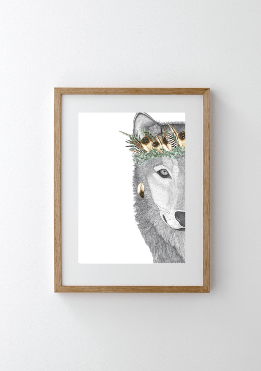 Dots By Donna, William the Wolf with Luxe Feather Crown