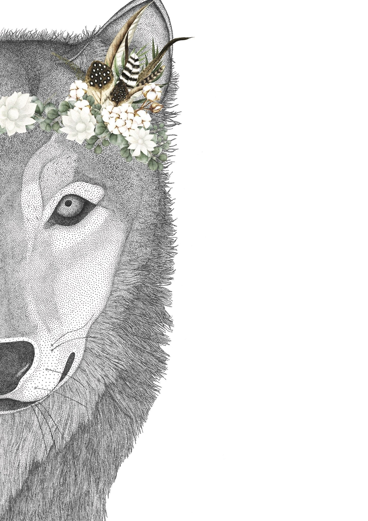 Dots By Donna, Willow the Wolf with Luxe Feather Crown - Hello Little Birdie
