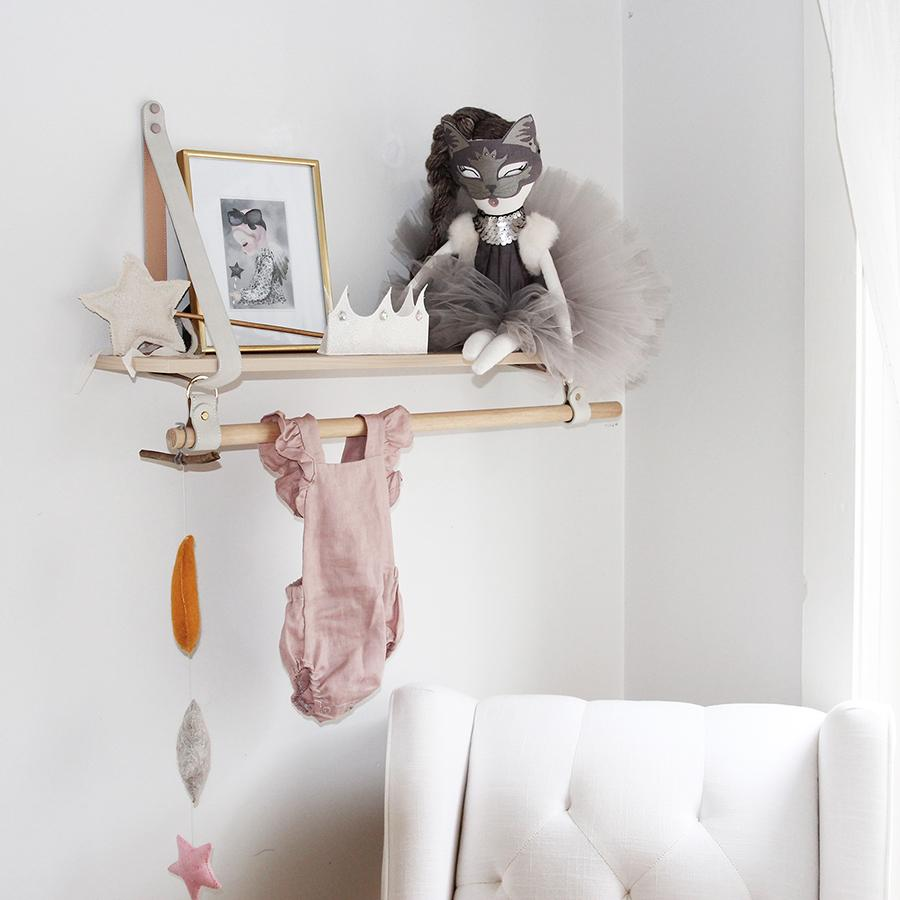 LEATHER STRAP SHELF W/ HANGING RAIL - Hello Little Birdie