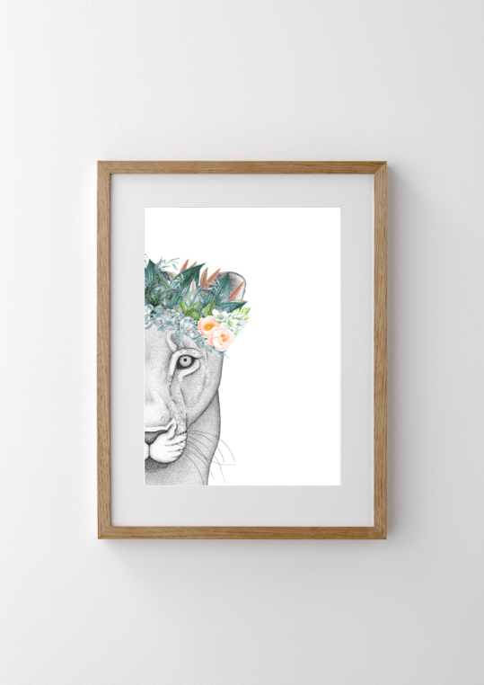 Dots By Donna, Linda the Lioness with Foliage Crown - Hello Little Birdie