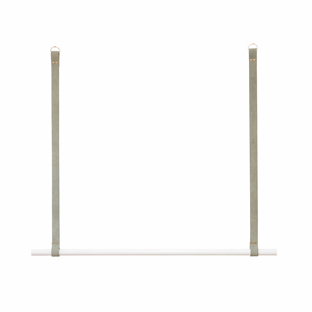 H+G Designs, LEATHER HANGING RAIL, SAGE SUEDE, WHITE