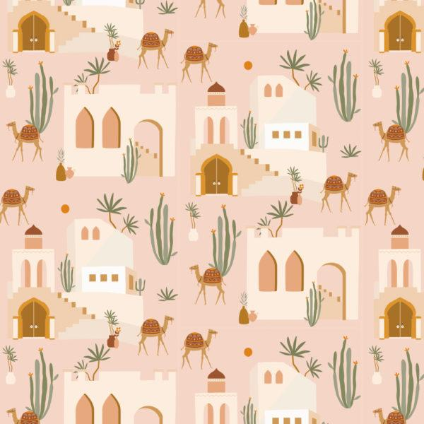 May and Fay, Wallpaper Oasis Pink - Hello Little Birdie
