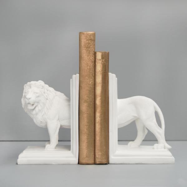 WHITE MOOSE LION BOOKENDS, WHITE - Hello Little Birdie