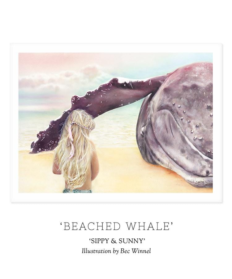 Unclebearskin Productions, SIPPY & SUNNY - 'BEACHED WHALE' Print - Hello Little Birdie