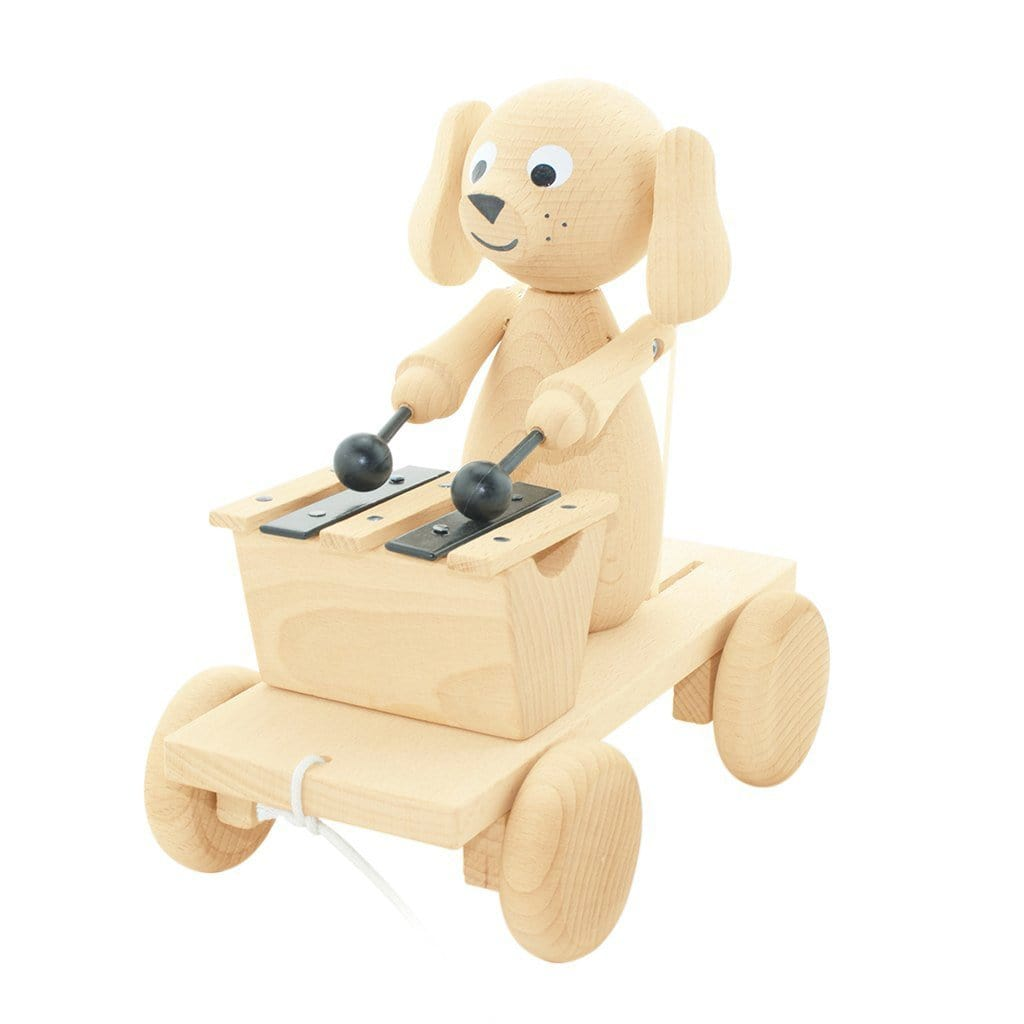 Miva Vacov Wooden Pull Along Dog With Xylophone - Hello Little Birdie