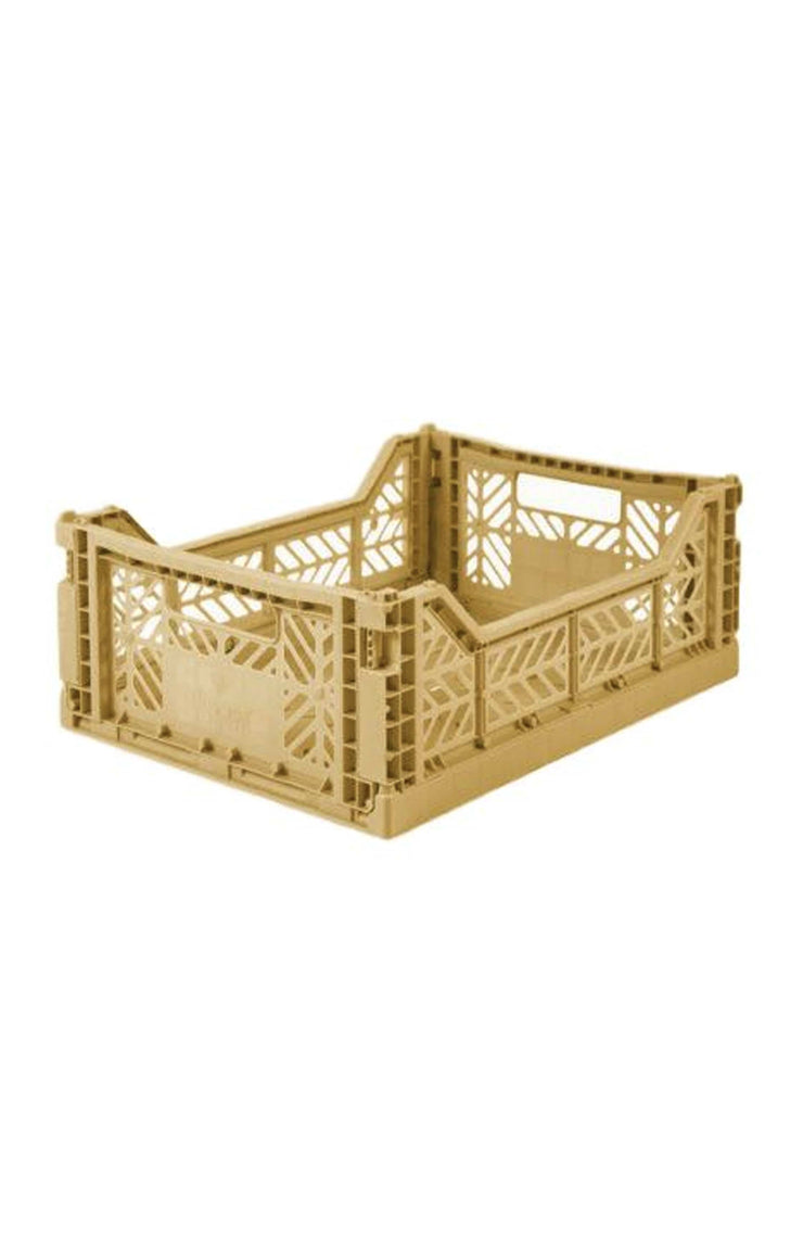AYKASA Medium Box Storage Crate, Gold - Hello Little Birdie