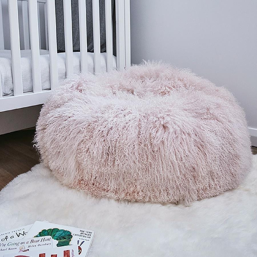 Mongolian Sheepskin Bean Bag - Blush
