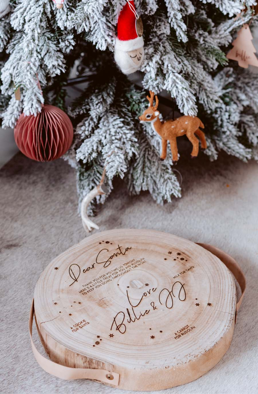 Wooden Christmas Eve Board, Leather Handles, Personalised - Hello Little Birdie