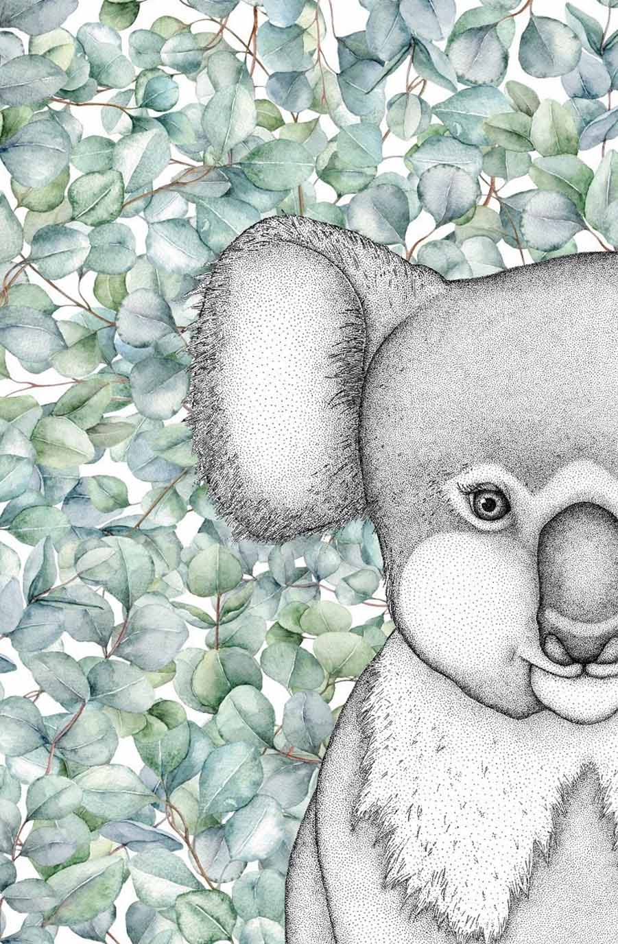 Dots By Donna, Kenneth The Koala With Eucalyptus Leaves - Hello Little Birdie