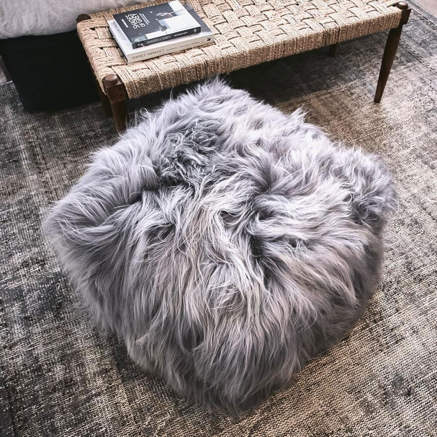 Icelandic Sheepskin Pouffe - Grey - Hello Little Birdie