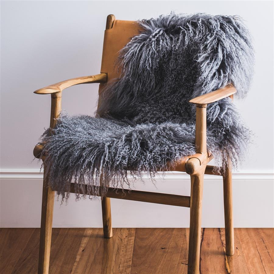 Mongolian Sheepskin Rug - Grey - Hello Little Birdie
