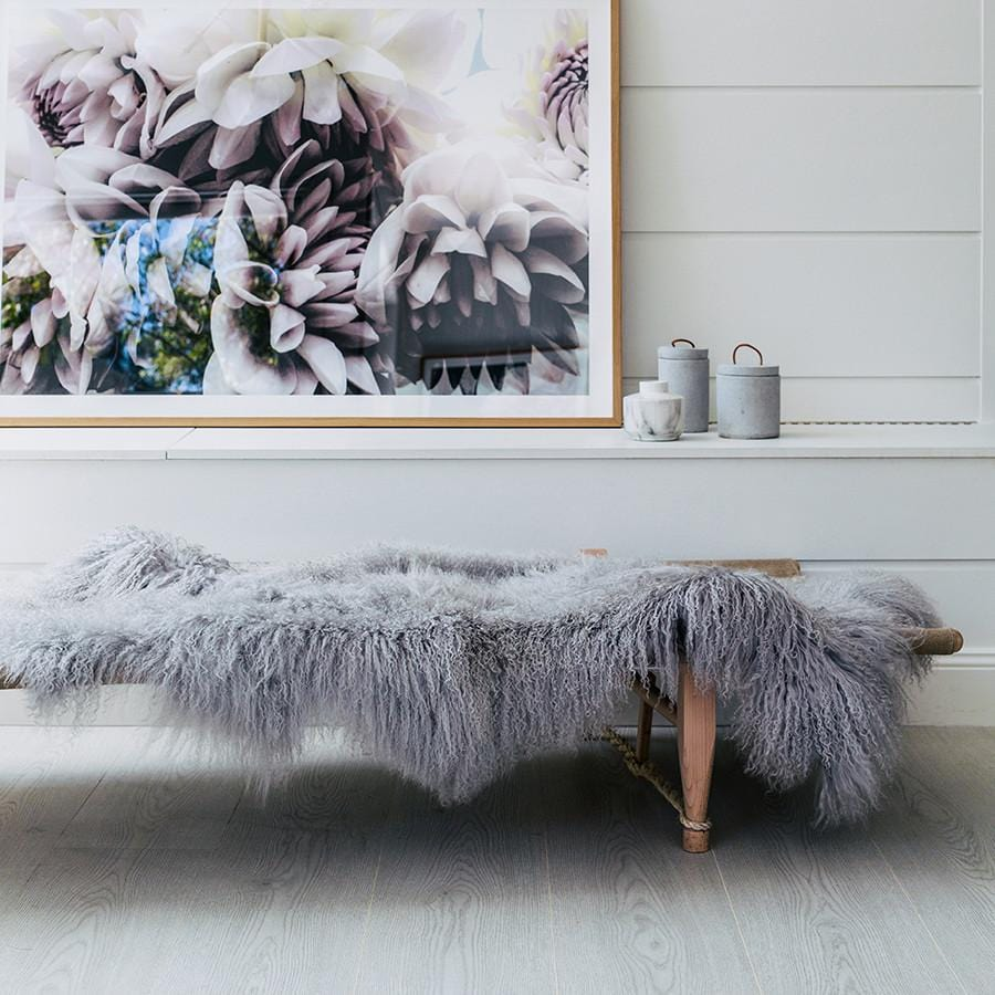 Mongolian Sheepskin Throw - Light Grey - Hello Little Birdie