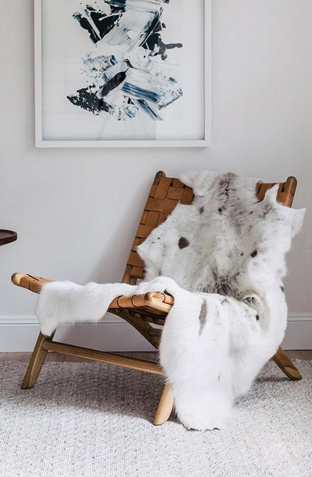 Hides of Excellence Reindeer Hide Rug, Albino Spotted