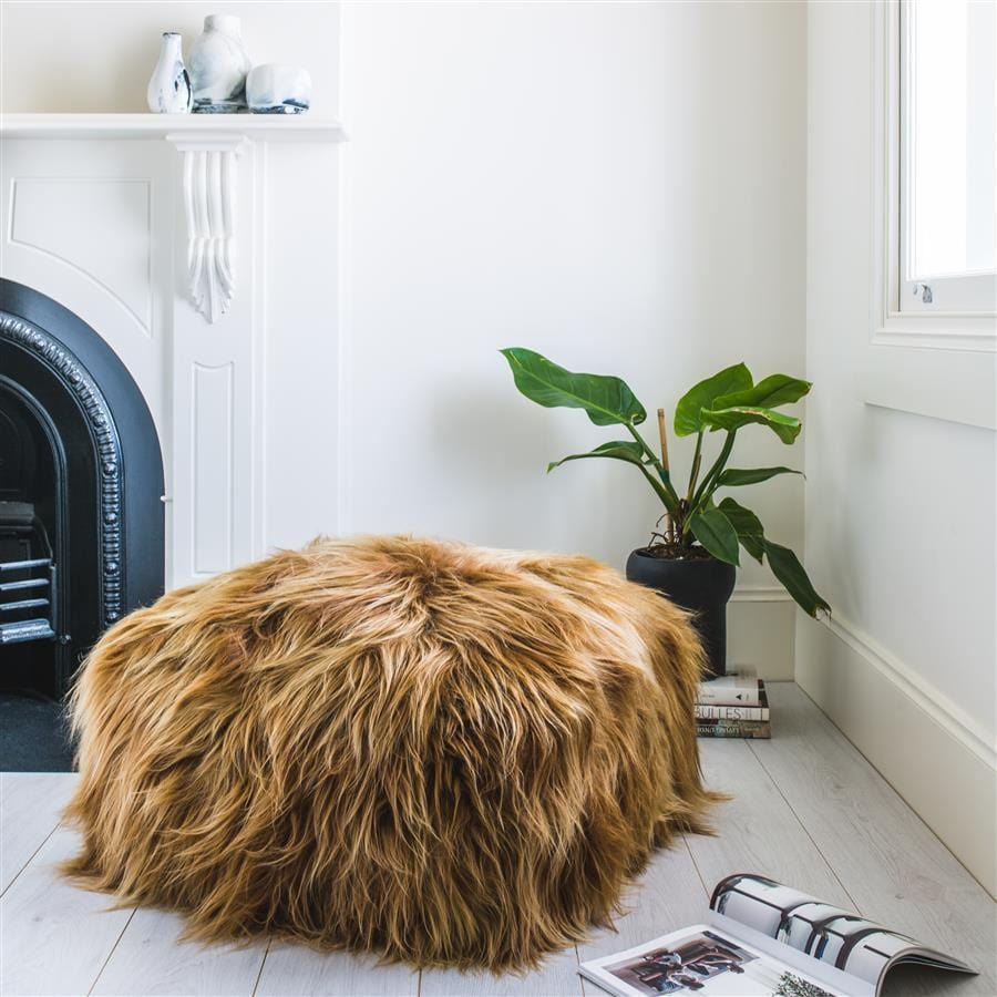 Icelandic Sheepskin Pouffe - Copper
