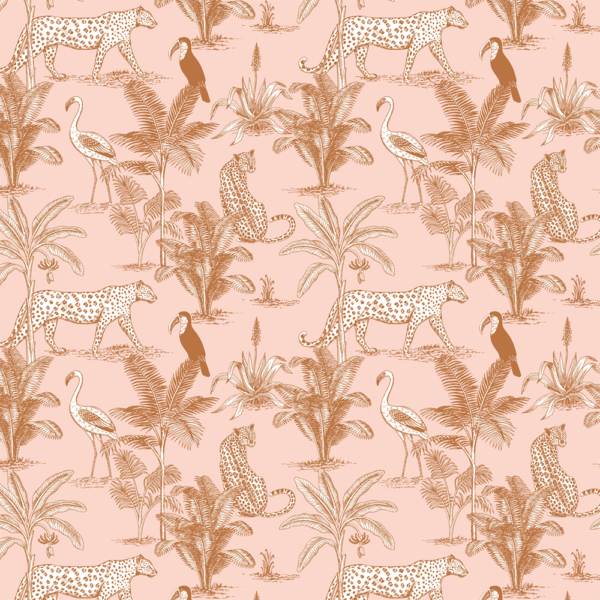May and Fay, Wallpaper Jungle Blush - Hello Little Birdie