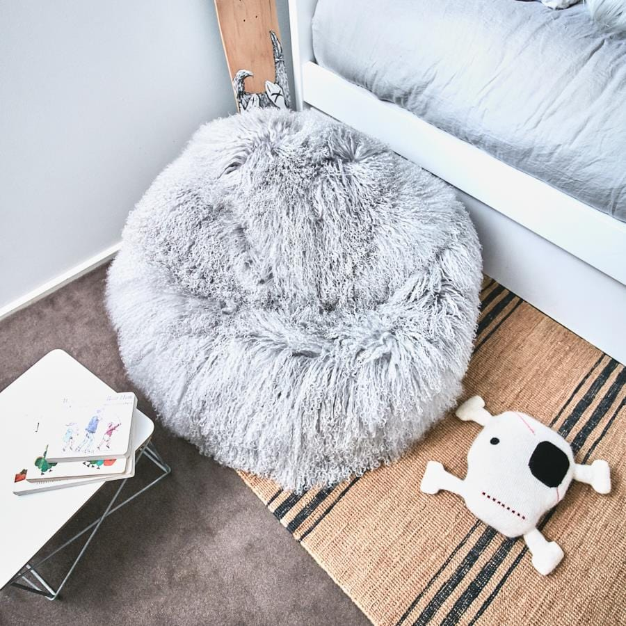 Mongolian Sheepskin Bean Bag - Light Grey