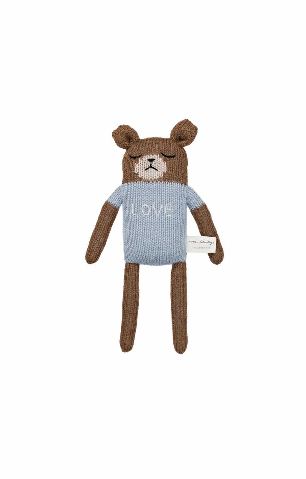 "Main Sauvage ""love"" teddy knit toy, blue - Hello Little Birdie"
