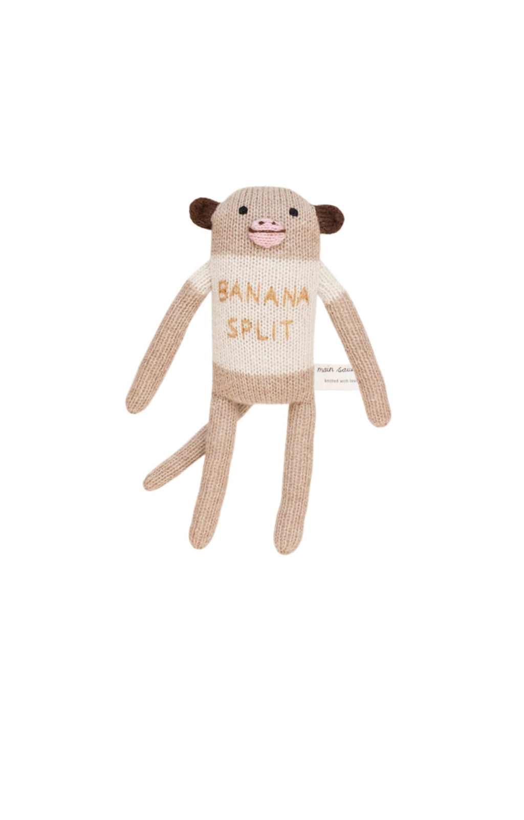 "Main Sauvage ""banana split"" monkey knit toy - Hello Little Birdie"