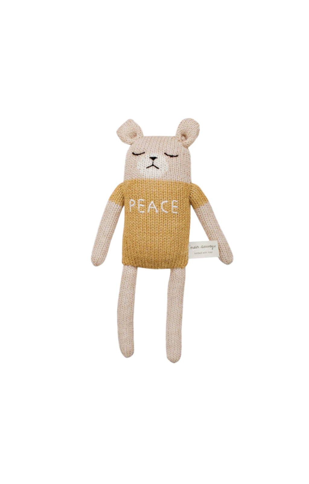 "Main Sauvage ""peace"" teddy knit toy, ochre (PRE-ORDER AUG)"