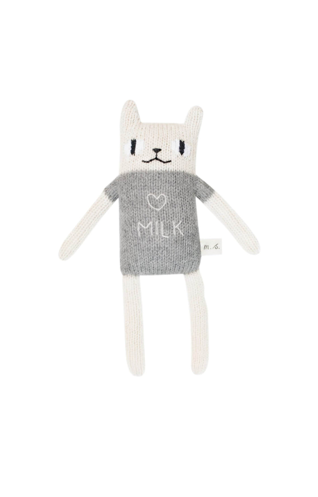"Main Sauvage ""milk"" cat knit toy, Grey"