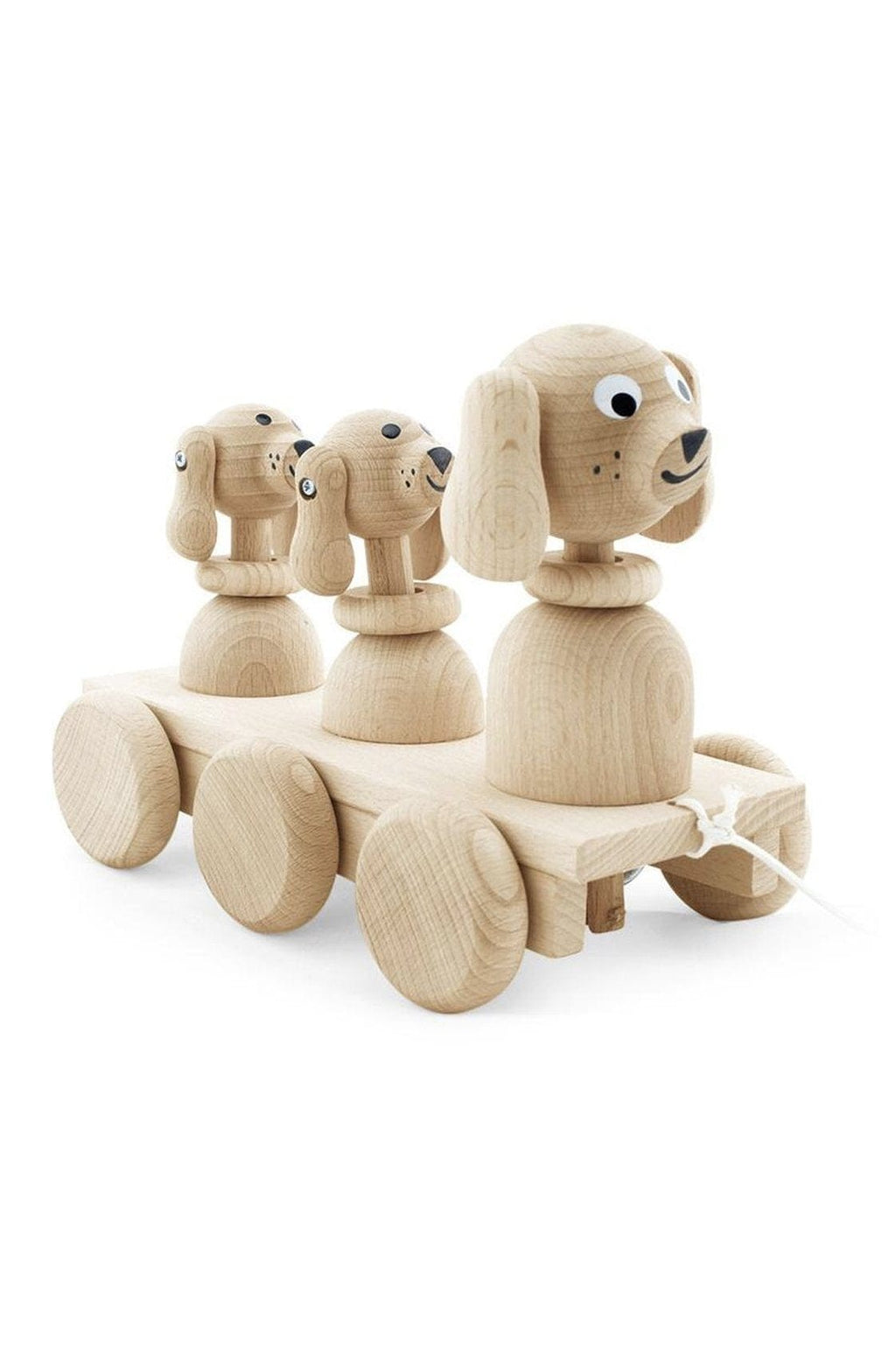 Miva Vacov Wooden Pull Along Dog Family