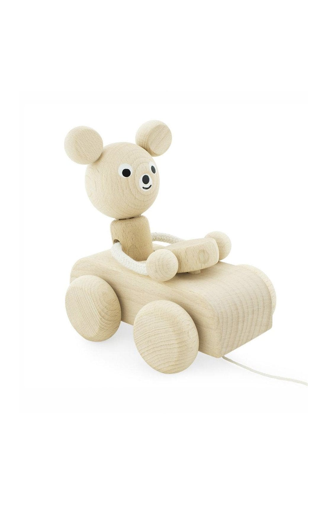 Miva Vacov Wooden Pull Along Bear In Car Teddy