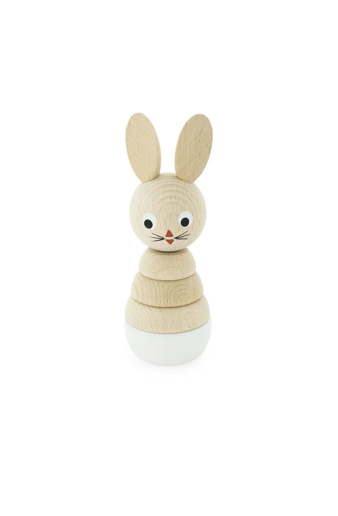 Miva Vacov Wooden Rabbit Stacking Puzzle, White Bunny - Hello Little Birdie