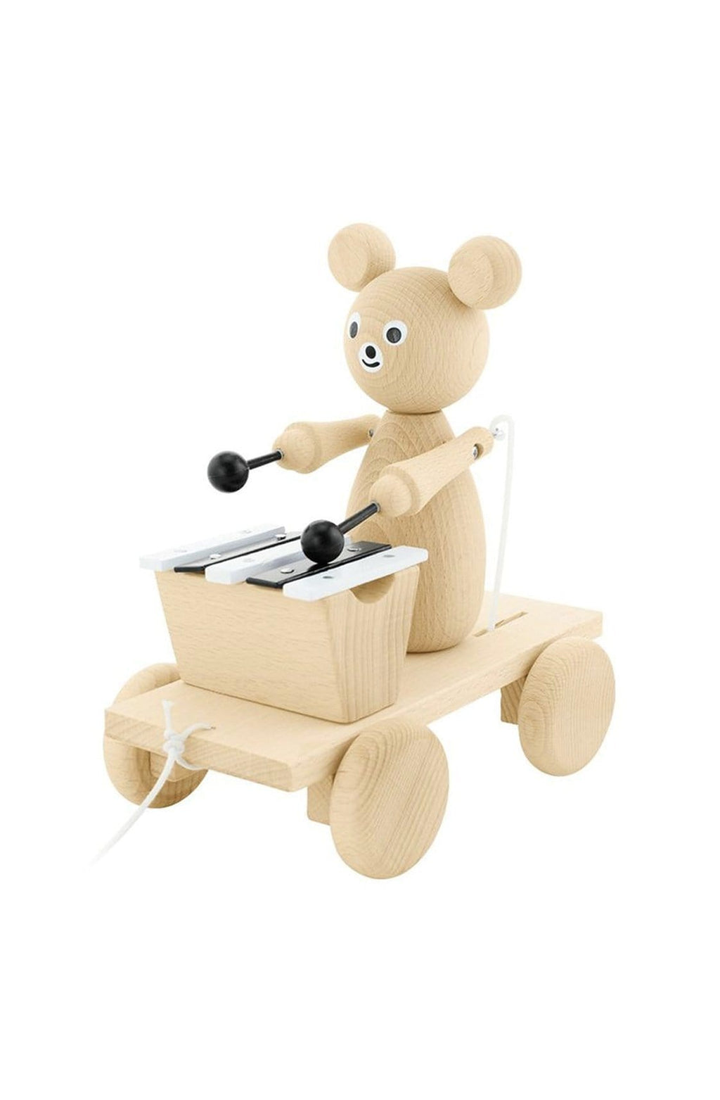 Miva Vacov Wooden Pull Along Bear With Xylophone - Hello Little Birdie