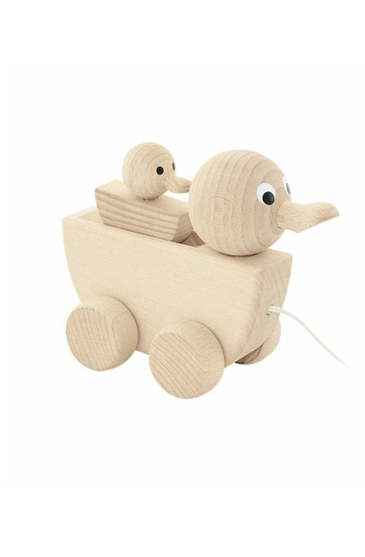 Miva Vacov Wooden Pull Along Duck With Duckling - Hello Little Birdie