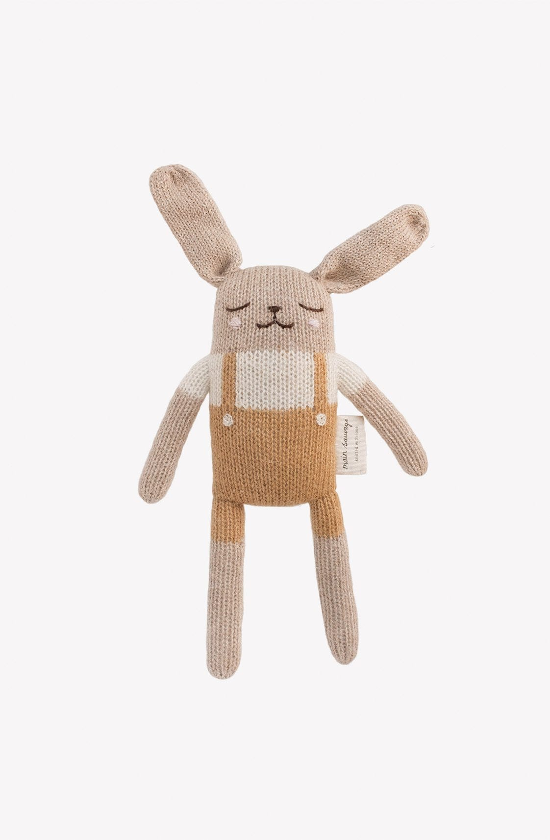 Main Sauvage Bunny Soft Toy, Mustard Overalls - Hello Little Birdie