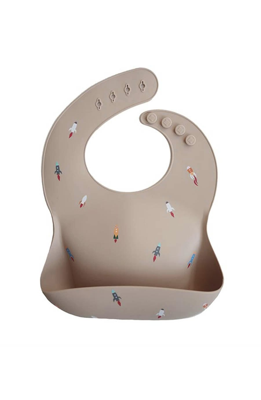 Mushie Silicone Baby Bib, Rocket - Hello Little Birdie