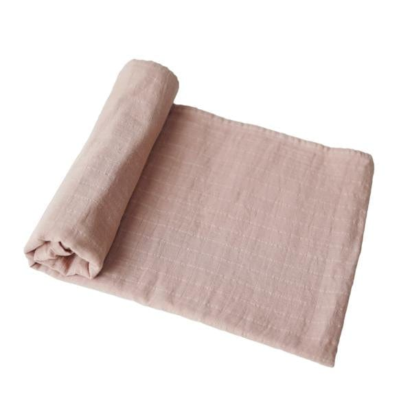 Mushie Muslin Swaddle Blanket Organic Cotton, Blush - Hello Little Birdie