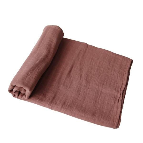 Mushie Muslin Swaddle Blanket Organic Cotton, Cognac - Hello Little Birdie