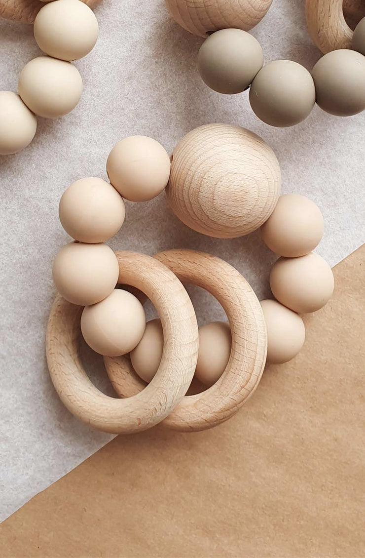 Dove and Dovelet SATURN Silicone Teething Toy, Nude - Hello Little Birdie