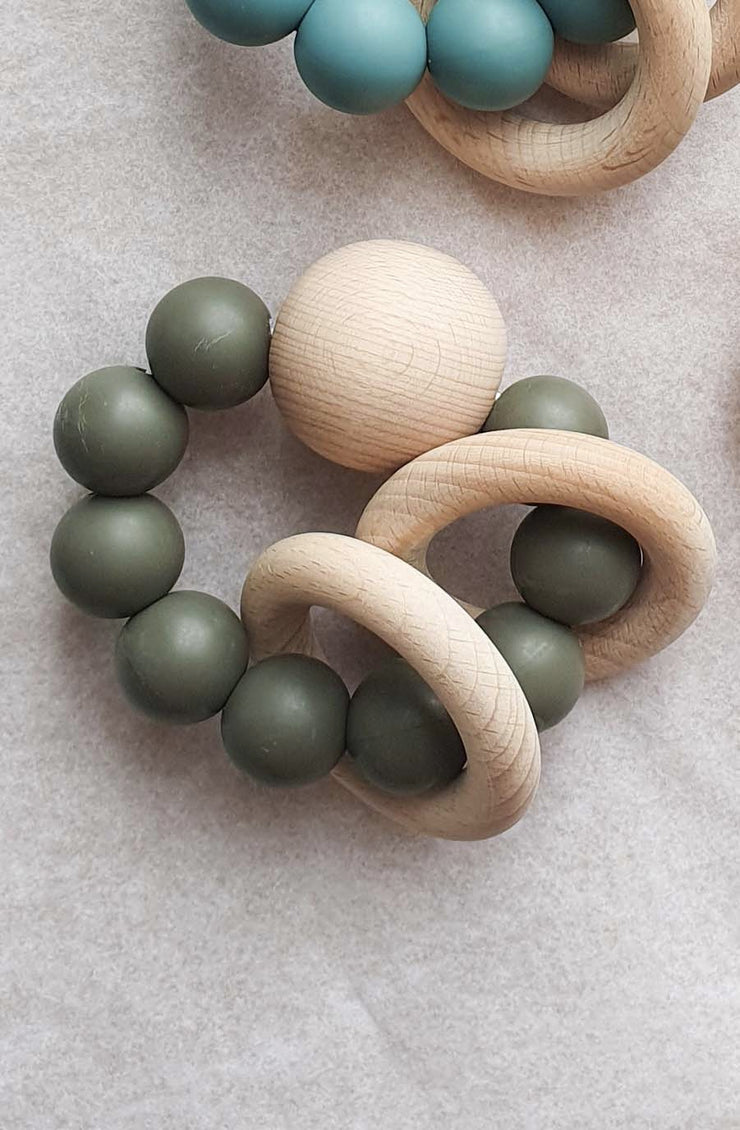 Dove and Dovelet SATURN Silicone Teething Toy, Olive - Hello Little Birdie