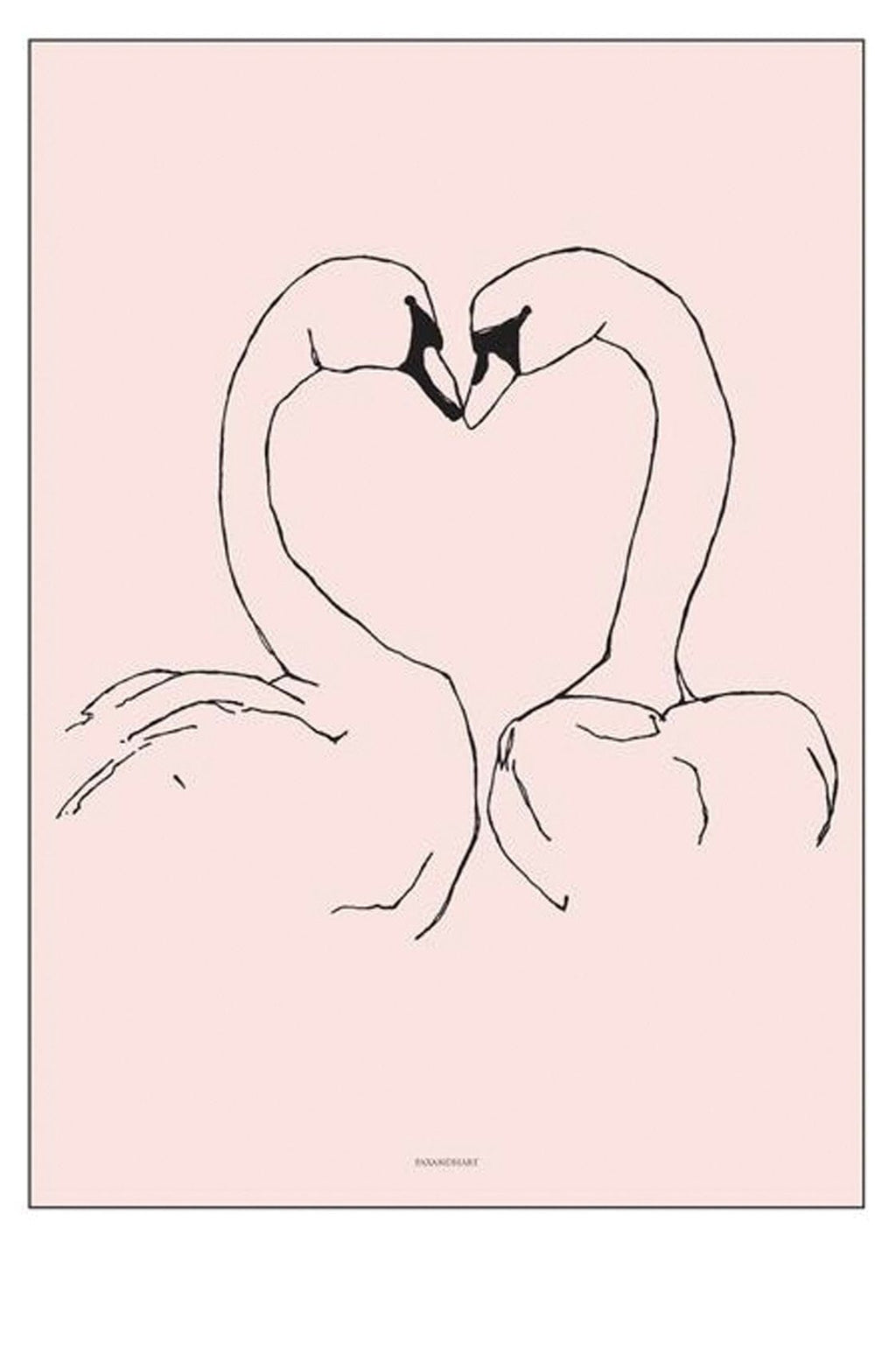 PAX AND HART SUNDAY LOVE BIRDS SWAN POSTER, 50 x 70CM
