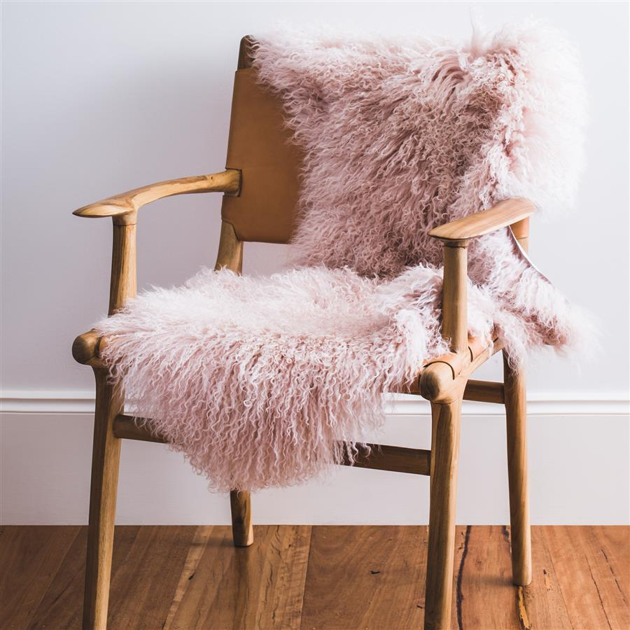 Mongolian Sheepskin Rug - Pink Blush - Hello Little Birdie