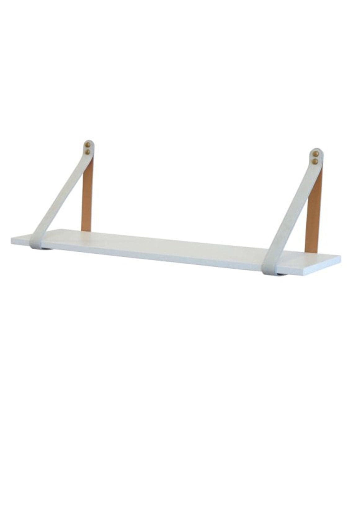 MUSHROOM SUEDE STRAP SHELF, WHITE SHELF