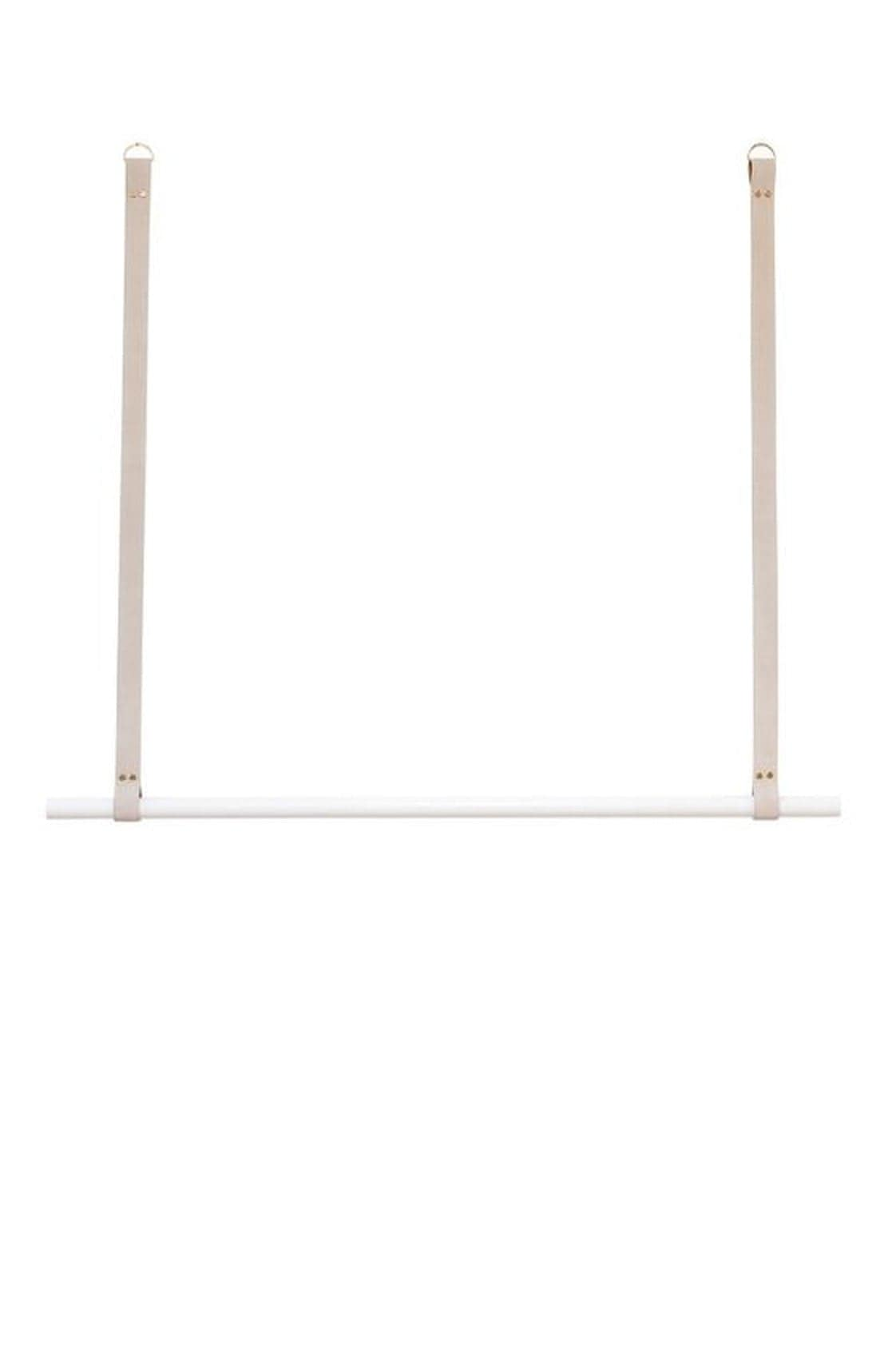 H+G Designs, LEATHER HANGING RAIL, NUDE LEATHER, WHITE - Hello Little Birdie