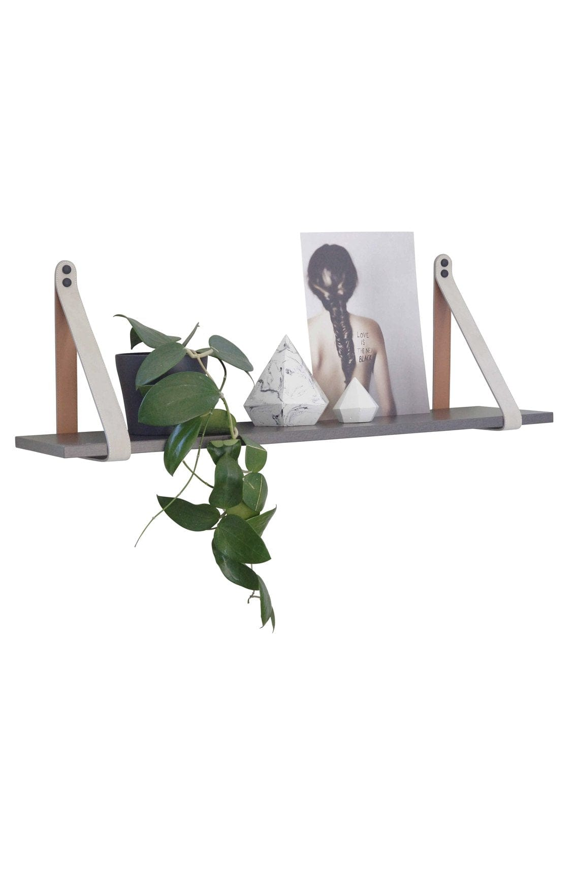 MUSHROOM SUEDE STRAP SHELF, CHARCOAL SHELF - Hello Little Birdie