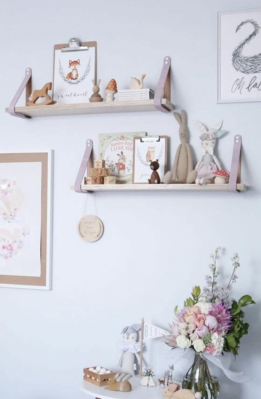 PINK SUEDE STRAP SHELF,  ALL SHELF OPTIONS - Hello Little Birdie