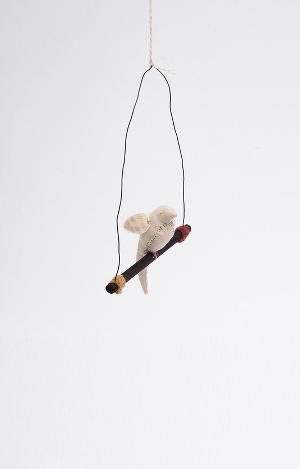 Tamar Mogendorff, Bird on a wood perch In White - Hello Little Birdie