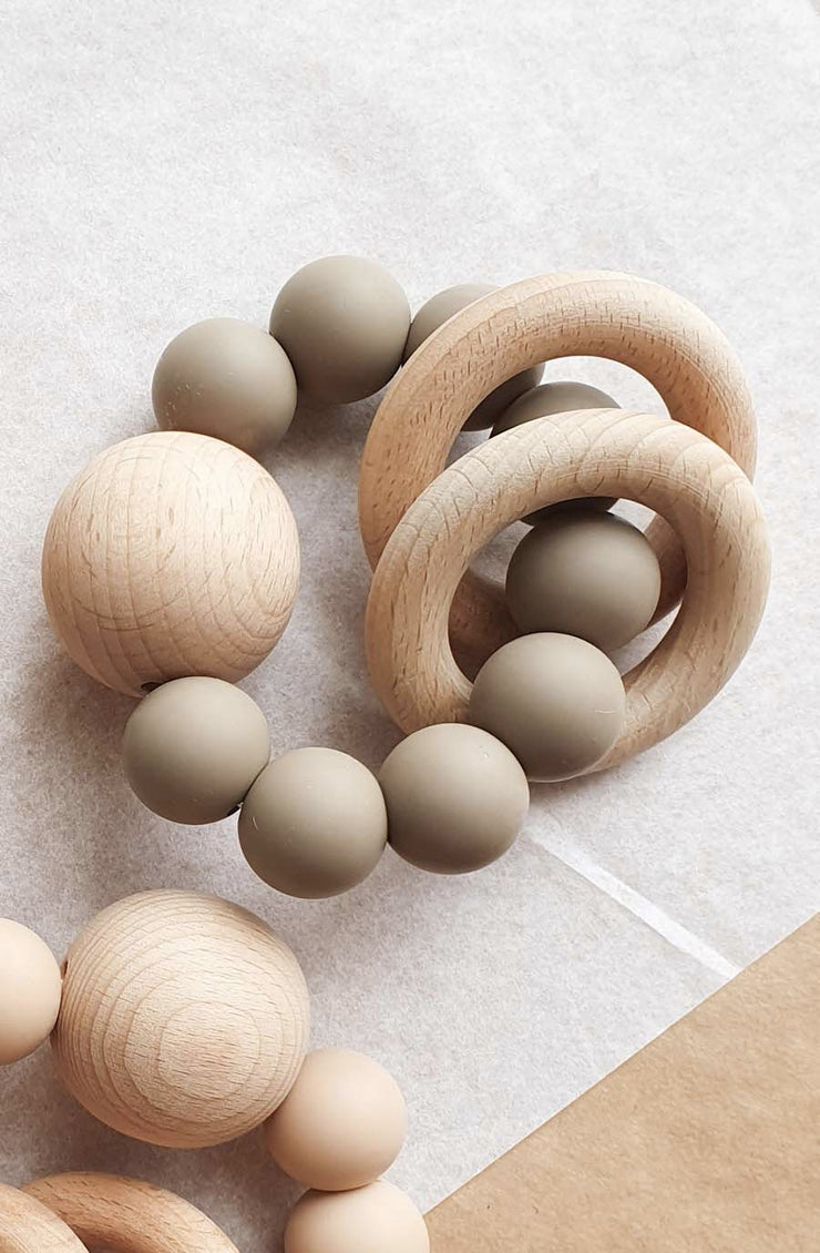 Dove and Dovelet SATURN Silicone Teething Toy, Taupe - Hello Little Birdie