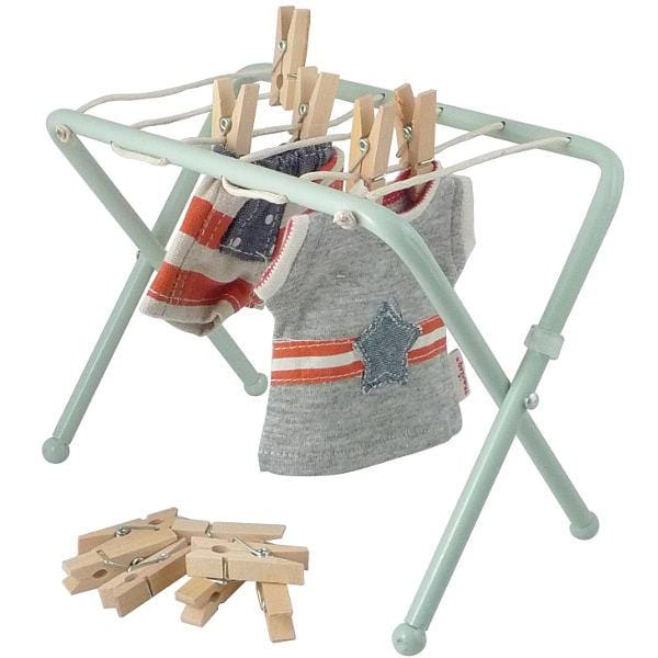 MAILEG METAL DRYING RACK CLOTHES POST WITH PEGS MINT - Hello Little Birdie