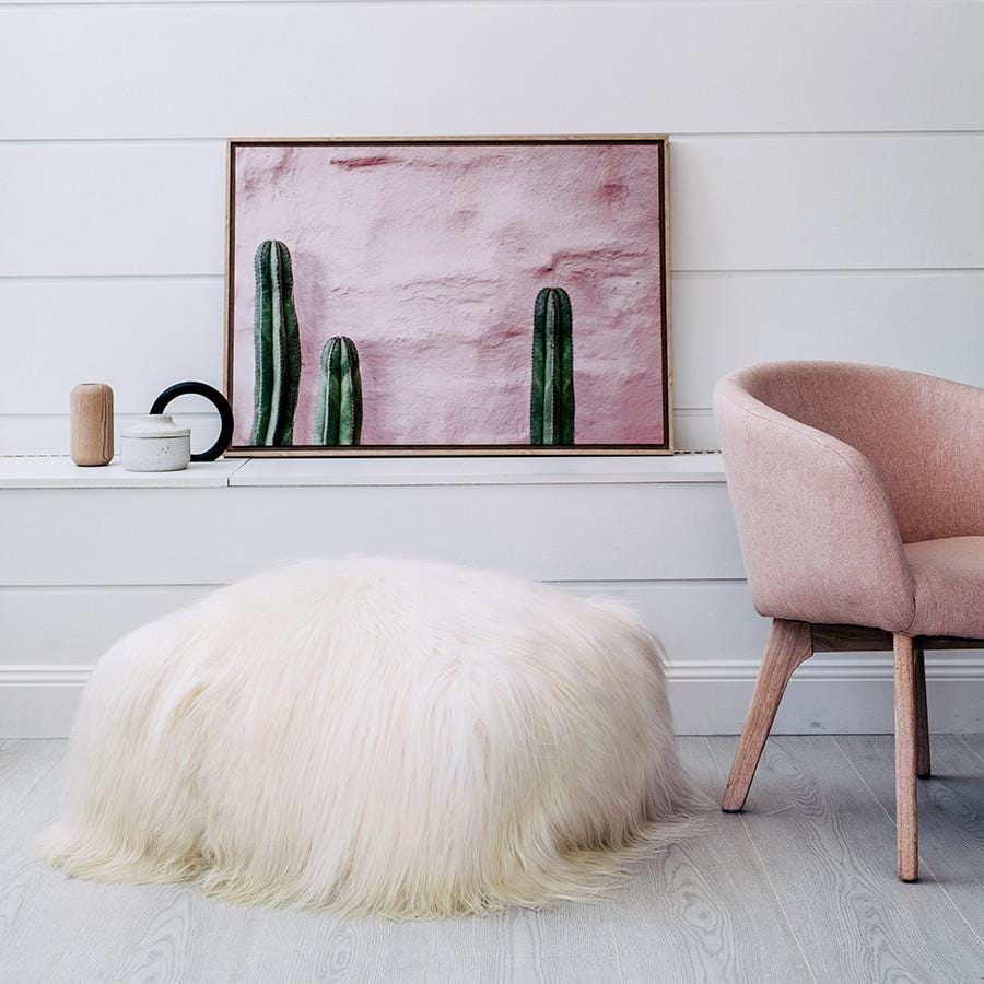 Icelandic Sheepskin Pouffe - White - Hello Little Birdie