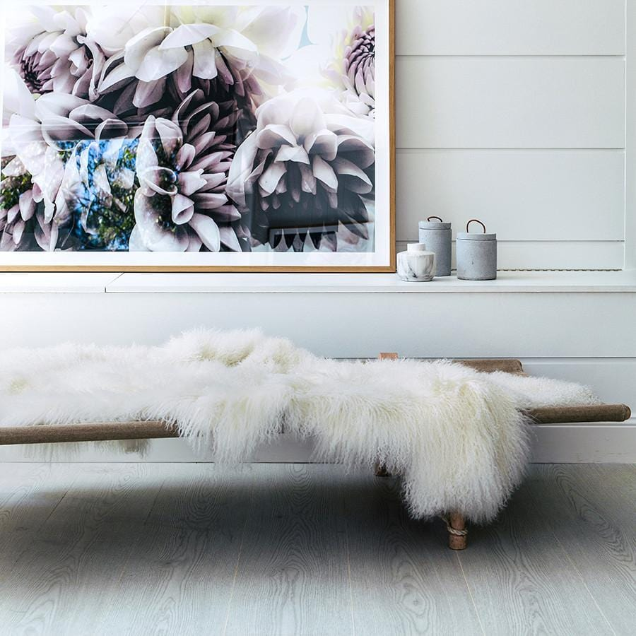 Mongolian Sheepskin Throw - White